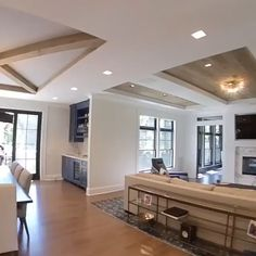 """Such unique ceiling designs in every """"room"""" Click the image to try our free home design app. Keywords: ceiling design, ceiling remodels, beautiful homes, living room design… Ceiling Design Living Room, Home Room Design, Interior Design Living Room, Living Room Designs, Dream House Interior, Bedroom Ceiling, Country Home Design, Modern Interior, Kitchen Ceiling Design"""