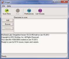 Descargar- McAfee Stinger 12.1.0.1164  McAfee AVERT Stinger es una utilidad independiente usada para detectar y eliminar virus específicos.   No es un sustituto de la protección antivirus completa, sino más bien una herramienta para ayudar a los administradores y usuarios cuando se trata de un sistema infectado. Stinger utiliza la tecnología de motor de exploración de última generación.