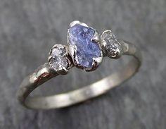 Raw Sapphire Dainty Diamond White Gold Engagement Ring Wedding Ring Custom One Of a Kind Violet Gemstone Ring Three stone