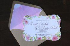 Pink Green Wedding Invitation. Handpainted wedding invitation. Handmade wedding invitation. Watercolor wedding..JPG