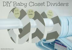DIY Baby Closet Dividers {from 2 Sisters 2 Cities}--using old cereal/cracker boxes and scrapbook paper. Good baby shower present Nursery Twins, Nursery Ideas, Room Ideas, Baby Closet Dividers, Getting Ready For Baby, Diy Bebe, Shoe Organizer, Baby Crafts, Baby Love