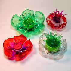 plastic bottles to flowers