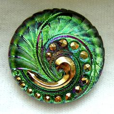 Czech Glass Button  Green Faceted Mirror Back by ButtonOdyssey