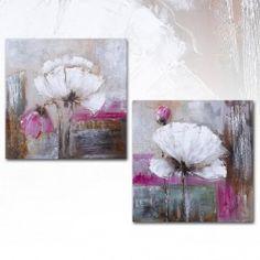 Cuadro Abstracto Flores blanco, díptico lienzo pintura al óleo Abstract Flowers, Abstract Art, Art Deco Paintings, Arte Floral, Teaching Art, Painting Inspiration, Flower Art, Canvas Art, Artwork