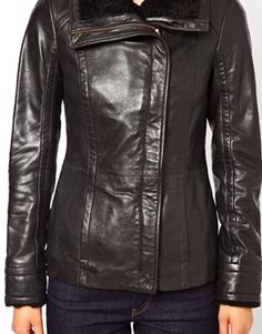 Image 3 ofTed Baker Leather Jacket with Shearling