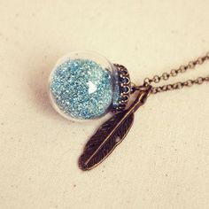 Glass Bauble Necklace with Blue Glitter and by DearDelilahHandmade