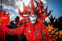 """One of the traditional Carnival characters in Martinique is """"Papa Djab"""", the red devil inspired by African culture. Papa Djab is a character in my novel, """"Island on Fire""""."""