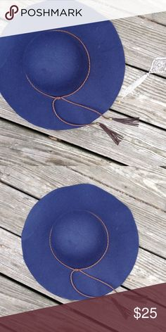 Navy blue floppy felt bohemian hat NWT I have these in four colors this listing is for the navy hat brand-new with tags Coachella Valley Accessories Hats