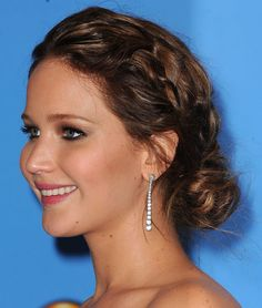 40+ Braids to Inspire Your Summer Hairstyle: January Joness loose braids blended beautifully into the rest of her hair, creating a peek-a-boo effect at a Childrens Defense Fund benefit in April. : Jennifer Morrisons waterfall braid is the perfect complement to your beachy waves this Summer. : A sweet braid accented Jennifer Lawrences bun at the Golden Globe Awards.