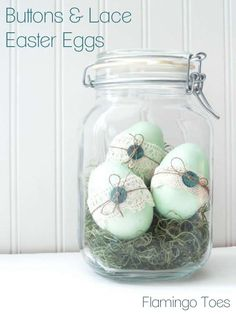 Buttons and Lace Easter Eggs -