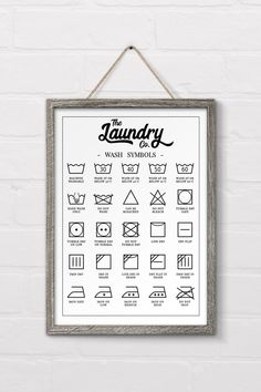 Check out this free printable laundry symbols wall art designed to fit in perfec. Check out this free printable laundry symbols wall art designed to. Farmhouse Side Table, Farmhouse Decor, Farmhouse Wall Art, Farmhouse Laundry Room, Laundry Symbols, Diy Casa, Ideias Diy, Cute Dorm Rooms, Laundry Room Design