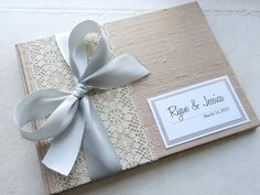 Champagne Wedding Guest Book You Choose Bow by EnvelopeGuestBooks, $42.00