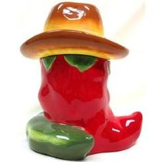 ACK Western Red and Green Chili Pepper Cookie Jar