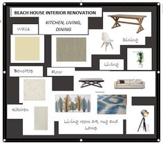 A beach house in Victoria currently under renovation. Its owners decided to get their inspiration from DIYDesigner and joined us online to create this great job! Interior Design Courses, Living Room Kitchen, Kitchen Flooring, Mood Boards, Beach House, Gallery Wall, Victoria, Create, Inspiration