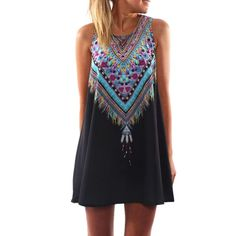 2017 Summer Style Women Vestidos New Fashion Vintage Print Mini Boho Dress