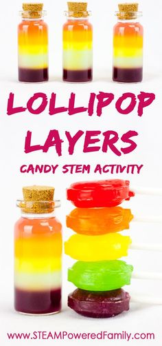 Layered Lollipops uses candy in a beautiful candy stem activity. Get creative with your color layers to make the leap from STEM to STEAM! Activities For Autistic Children, Science Activities For Kids, Cool Science Experiments, Stem Science, Kindergarten Science, Easy Science, Stem Activities, Candy Experiments, Science Ideas
