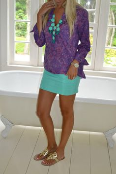 purple & teal summer outfit.