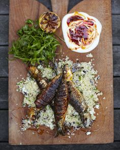 Harissa sardines with couscous