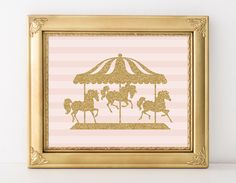 Carousel Print 8x10 Instant Download Nursery Carousel Printable Art Carousel Horse Print Pink Nursery Decor Gold Glitter Playroom Decor by MossAndTwigPrints on Etsy https://www.etsy.com/listing/211438165/carousel-print-8x10-instant-download