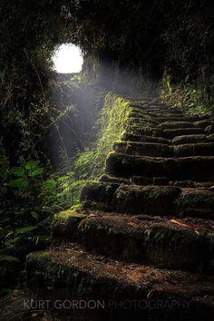 Stairway to Heaven. Passage on the Inca Trail leading to Machu Picchu, Peru. Beautiful World, Beautiful Places, Beautiful Stairs, Beautiful Beautiful, Beautiful Scenery, Amazing Places, Inca, Stairway To Heaven, Fantasy Landscape