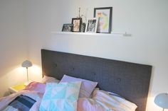 Ugleunger: DIY sengegavl Plank Walls, Dorm Life, Home Bedroom, Bedrooms, Diy Projects To Try, Diy Wall, Diy Furniture, Toddler Bed, Interior