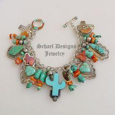 Rocki Turquoise Cactus Orange Spiny Oyster & Turquoise Charm Bracelet ~ Schaef Designs