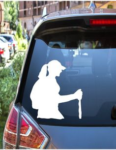 Female Hiking Decal for Yeti Cup // Car Window Sticker // Backpacking Decal // Hiking Decal // Car Decal // AT Backpacker Decal Car Window Stickers, Car Decals, Decals For Yeti Cups, Backpacker, Hiking, Snoopy, Adventure, Cars, Female