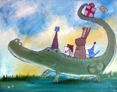 Muro bambini arte, originale pittura per bambini, arte di stile fiabesco, alligatore Kids Room Decor, Bunny, Mouse, uccelli, animali, festa di compleanno