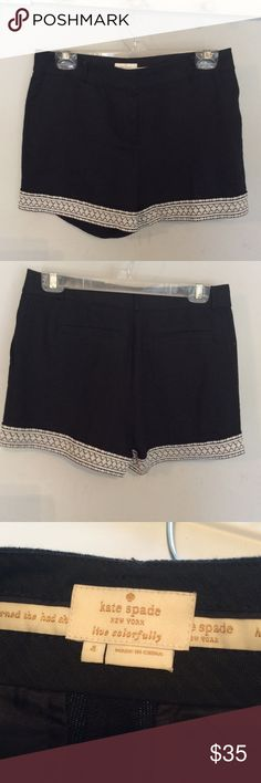 Kate Spade black shorts with embroidered trim Kate Spade black linen shorts with embroidered ivory trim. Absolutely adorable for those dressy occasions kate spade Shorts
