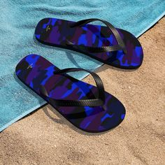 Purple Blue Camouflage Camo Military Print Unisex Flip-Flops Pool Sandals-Made in USA