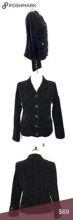 """CAbi Velvet Velour Blazer Jacket Casual Button CABI Size Large Black Velvet Velour Blazer Jacket Casual Career Style 649  STYLE/TYPE: 649 Velvet/Velour Jacket  CONDITION: Excellent preowned condition with normal signs of light use. No major flaws or imperfections. No stains, holes or heavy wear. These look to have been worn Very little.  CHEST(pit to pit): 21""""  SHOULDER TO SHOULDER: 14""""  SLEEVE LENGTH (Shoulder seam to cuff): 24""""  WAIST: 18""""  HIPS: 20.5""""  LENGTH (Bottom of collar to hem)…"""