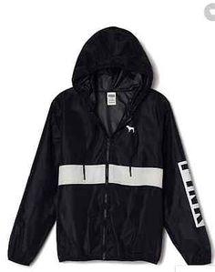 Victorias Secret PINK Anorak Full Zip Hoodie Windbreaker Jacket BLACK XS/Sm