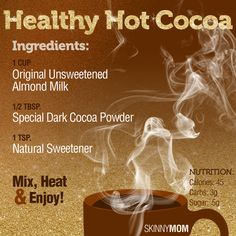 Healthy Hot Cocoa - perfect for a cold, rainy, or snowy day! Smoothie Drinks, Healthy Smoothies, Healthy Drinks, Fall Recipes, Snack Recipes, Healthy Recipes, Snacks, Skinny Mom Recipes, Hot Cocoa Recipe