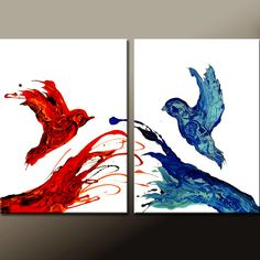 THE UNION - 2pc Abstract Canvas Art Painting  Contemporary by wostudios, $149.00