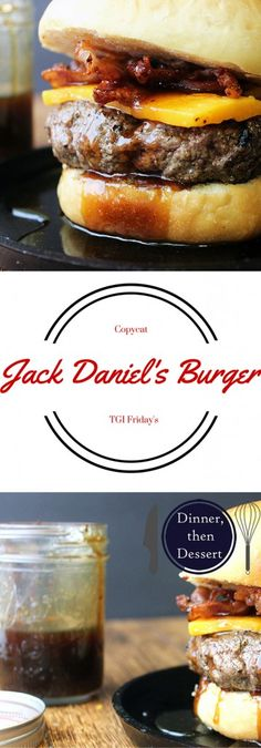 Daniel's sticky, sweet & spicy sauce on a delicious bacon cheeseburger. Can it get any better?Jack Daniel's sticky, sweet & spicy sauce on a delicious bacon cheeseburger. Can it get any better? Burger Recipes, Grilling Recipes, Beef Recipes, Cooking Recipes, Burger And Fries, Good Burger, Beef Burgers, Beste Burger, Gastronomia