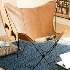 Stalking this one, too. It's a race to the finish! | Leather Sling Butterfly Chair | PBteen