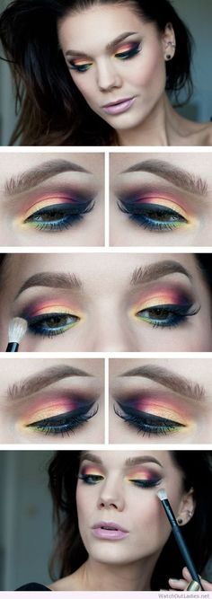 Linda Hallberg colorful eye makeup idea