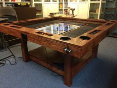 Homebrewing system Build a dream gaming table that can even include an embedded digital mapping system Game Room Tables, Board Game Table, Board Games, Gaming Table Diy, Gaming Setup, Gaming Desk, Dnd Table, Gaming Furniture, Plywood Furniture