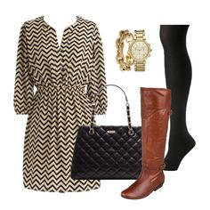 chevron dress from modcloth + tights + boots = perfect fall outfit