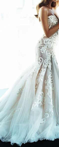 I could roll with this.. pretty gorgeous wedding gown dress strapless breathtaking I believe that pattern is called french lace?