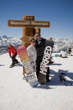 Mammoth Mountain Wedding. Snowboarding. Just Married. Photo by Cooke's Fine…