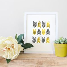 Gold and Gray Tribal Rustic Arrows Print, Wall Art Ideas, Art Printable, Affordable Art, Gift under 5