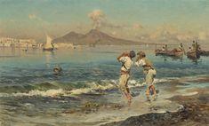 Antonino Leto - Una veduta del golfo di Napoli con i pescatori