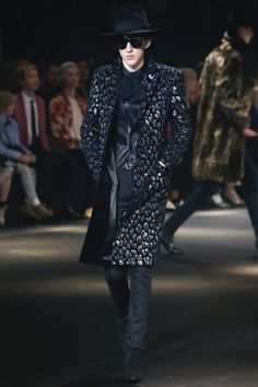 silver and black print coat, leather vest - Saint Laurent Fall 2016 Menswear Fashion Show