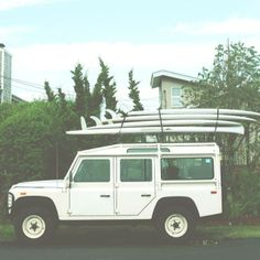land rover defender + surfboards #suv