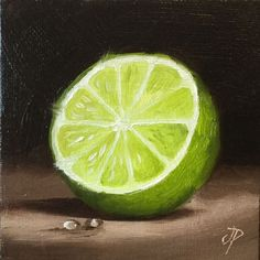 Little Lime half - Oil painting by Jane Palmer- Bailey Gaspard- Oil Pastel Paintings, Oil Pastel Drawings, Oil Pastel Art, Art Paintings For Sale, Oil Pastels, Paintings Of Fruit, Art Drawings, Vegetable Painting, Afrique Art