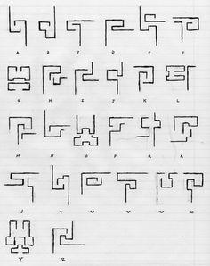 The Terran Alphabet / Alfabeto Alphabet Code, Alphabet Symbols, Script Alphabet, Greek Alphabet, Ancient Alphabets, Ancient Symbols, Mayan Symbols, Viking Symbols, Egyptian Symbols