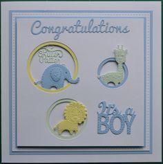 New baby boy card using Sue Wilson dies