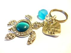 Rhinestone Sea Turtle Keychain Dreaming Of The Sea by YoursTrulli #SeaTurtle #TurtleKeychain #CuteGift #OceanInspired #SeaGlassAccessories