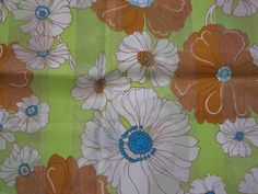 Green & Brown Flower Power Retro Fabric  1 YARD by DesignsByMistyT, $11.92